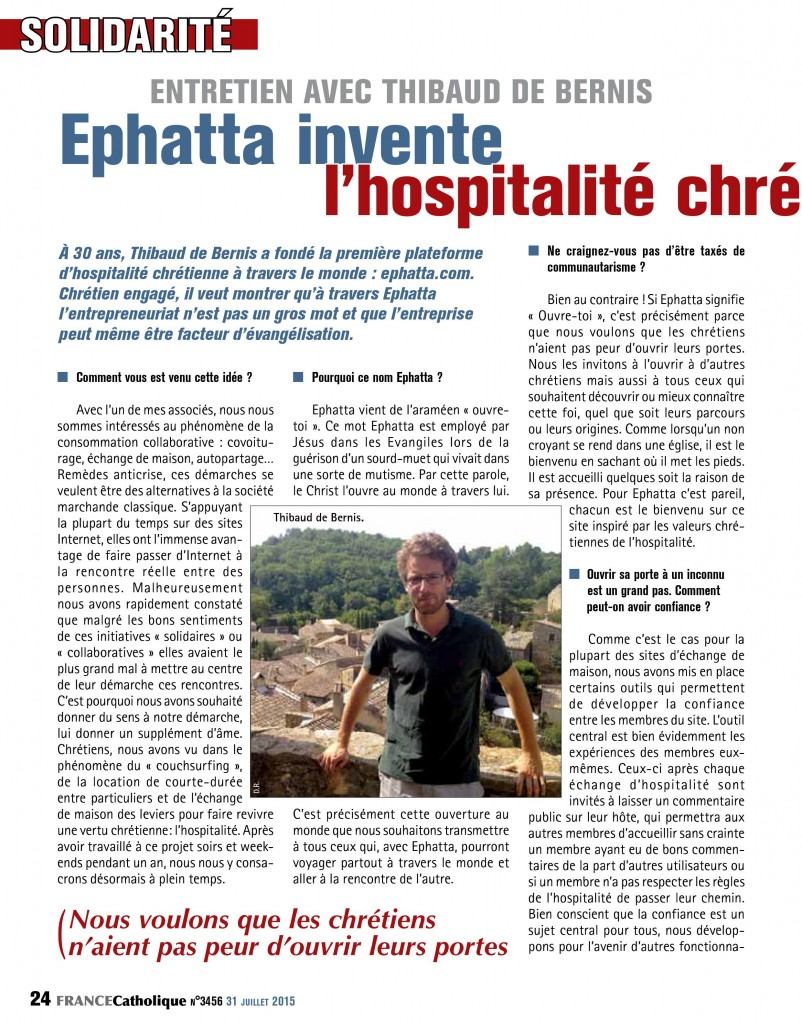 France Catholique Hospitalité 1